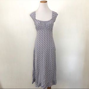 Vintage 90s Bias Cut Button Print Dress Medium